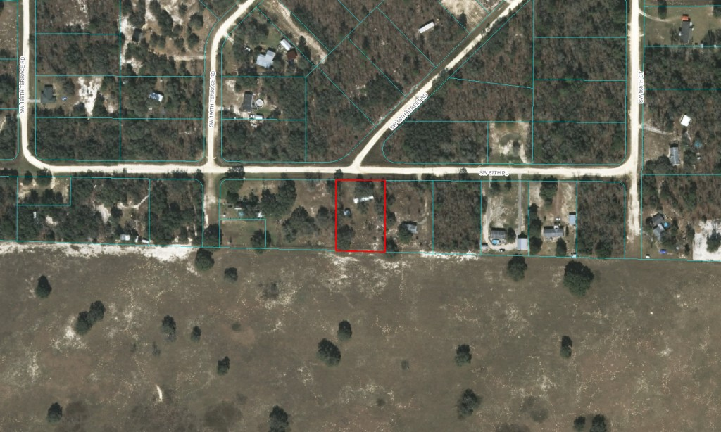 Aerial photo of 1988 mobile with 1 Acre in Ocala